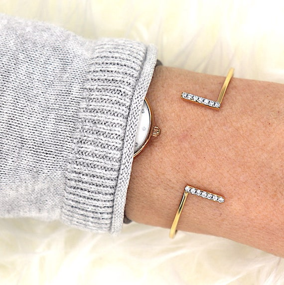Bangle Bracelet gold plated bars and cubic zirconia