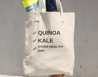Quinoa + Kale Tote | Quinoa, Kale, Healthy, Diet, Vegetarian, Bag, Shopping Bag, Sassy, Gift for her, Hipster, Shit, Whole Foods, Groceries
