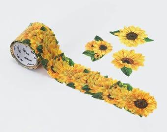 Bande Masking Roll Sticker Sunflower  (Large size)