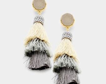 Gray Druzy Layered Triple Tassel Earrings