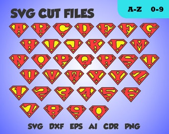 Superman font, perfect cut monogram, letters  SVG cut file, dxf, eps, ai, cdr, png transparent background