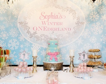 """ONEDERLAND Printable Party Backdrop 72"""" x 39"""" - you print"""