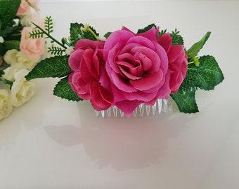 Hair comb,flowers hair comb,bridal hair comb,wedding hair comb,floral hair comb ,rose flower comb,Floral Accessories,Leaf Hair Comb
