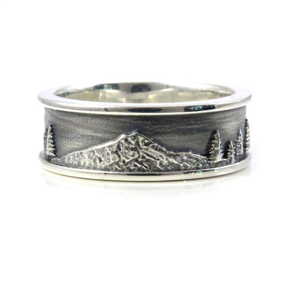 Mt. Hood Men's Sterling Silver Ring - Forest Mountain Wedding Ring