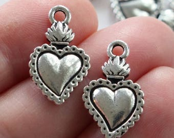 Milagro Heart Charms, 2+ TierraCast Antique Silver Plated, Lead Free Pewter, Mexican Milagro Hearts, Healing Sacred Heart Charms