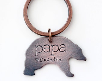 Papa Bear Keychain, Copper Dad Keychain, Fathers Day Gift From Kids, Love You Daddy Keychain, New Dad Gift, Daddy Bear Keychain
