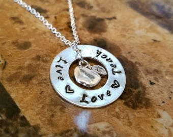 Teacher's Charm Necklace - Hand-Stamped Necklace