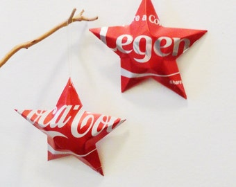 Legend Coke Stars Christmas Ornaments  Soda Can Upcycled Coca Cola