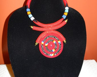 Bright red beaded necklace