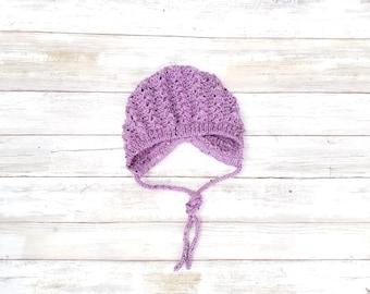 Merino Wool/Alpaca Baby Bonnet. Tweed Baby Bonnet. Purple Tweed Baby Bonnet. Hand Knit Baby Hat. Wool Baby Girl Hat.