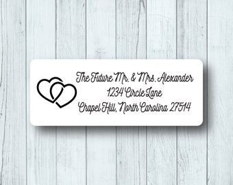 Wedding Hearts Return Address Labels - Personalized Wedding, Custom Save the Date Mailing Labels - Matte White, Kraft, or Clear Gloss