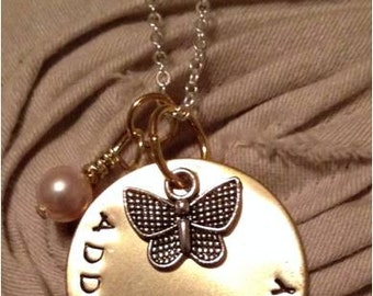 SALE Butterfly CIrcle Pendant