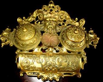 Antique Double Inkwell of Shiny Brass/Bronze Schreibset Tintenfass Schreibtischgarnitur Schreibtisch Set