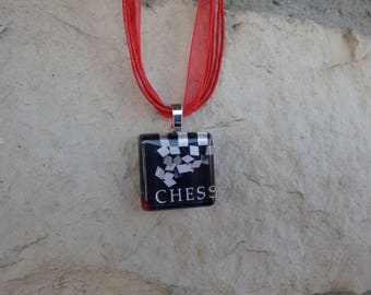 Broadway Musical Chess Glass Pendant and Ribbon Necklace