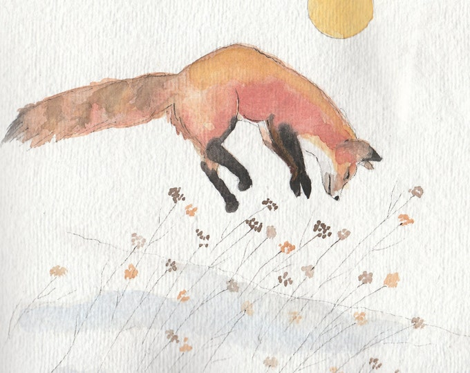 Low Winter Sun frolicking fox in snow christmas holiday card