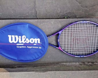 Wilson Graphite Aggressor 95 tennis racquet High Beam series 4 1/2 with cover 90s