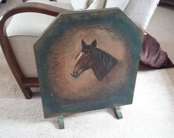 Vintage Hand  Painted Fire Screen of a Horse