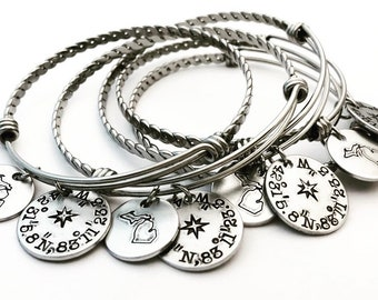 ALL 50 STATES AVAILABLE ~ Wanderlust - Coordinates - Michigan Bangle Bracelet - Hand Stamped - Longitudel - Adjustable Bangle- Latitude