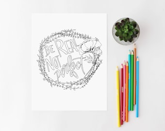Quote Printable / Quote Coloring Page / Adult Coloring Page / Floral Coloring Page / Wreath Coloring Page / Self Care Coloring Page