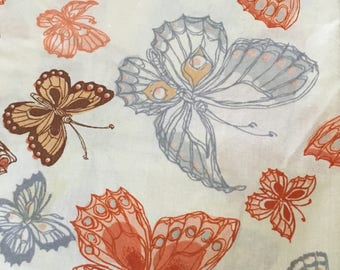 Vintage Twin Fitted Sheet & Case / Brown Orange Yellow Gray Butterflies / Repurpose Reuse Recycle Craft Quilt / USA