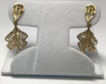 14 K Yellow Gold Pierced Post Filigree Dangle Earrings