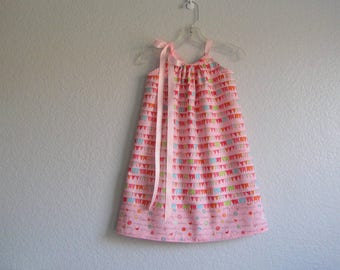 Girls Pink Pillowcase Dress - Colorful Friendship Flags & Inspirational Words - Easter Dress - Size 12m, 18m, 2T, 3T, 4T, 5, 6, 8, or 10