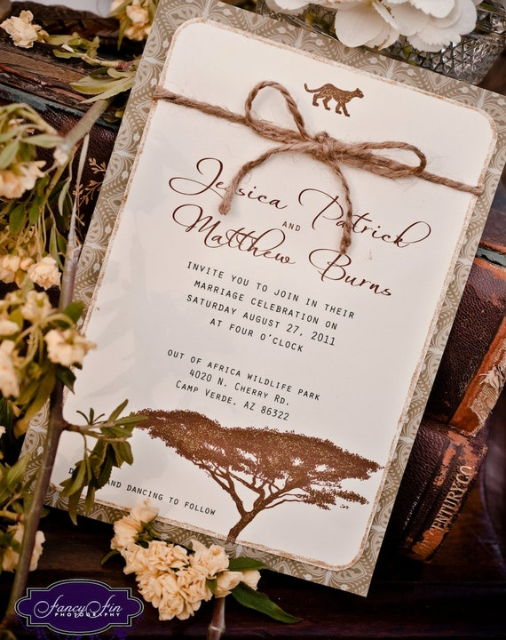 brenda Vintage Desert Safari Wedding Invitations hand painted