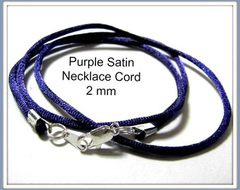 12 to 24 inch Purple Satin Necklace Cord, Purple Necklace Choker, Pendant Cord, Jewelry Accessory, Silver, Gold, Ant. Brass Lobster. Custom