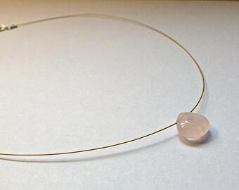 Rose Quartz Briolette Gold Plated Necklace.