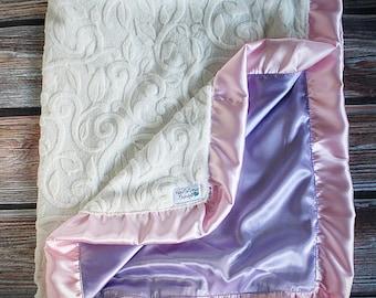 Baby blanket, lavender blanket, pink blanket, vine minky, baby minky blanket, pink and lavender blanket, princess blanket, silky blanket