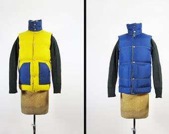 Vintage Reversible Puffy Vest Yellow Blue Down Filled Ski Vest - Men's Small