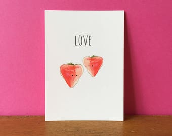 Strawberry Love A6 card