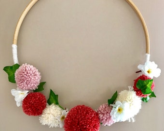 Coral/Red Pom Pom Wreath