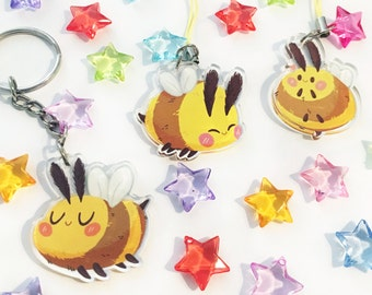 Bee Acrylic Charms (1.5 in) | Double-Sided | Cute Bumblebee Keychain | Bees Phone Strap
