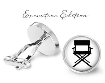 Hollywood Director Cufflinks - Director's Chair Cufflinks - Movie Director Cuff Links - Chair Cufflink (Pair) Lifetime Guarantee (S0156)