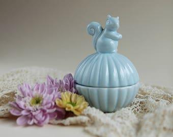 Ceramic Trinket Box with Squirrel on Lid in Baby Blue | Jewelry Box | Ring Box | Home Decor | Figurine |  Paper Clip Container