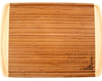 """Engraved Cutting Board 18x12"""" - Engraved Bamboo Cutting Board with Groove - Wedding Gift, Couples Gift, Anniversary Gift"""