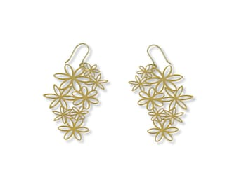 Earrings Flores, Whenever you feel happy or sad, I seem to be appropiate, gold plated for her flowers