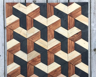 Pattern-wall panel of wood, 3d optical illusion