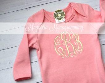 Pink Newborn Gown with Cream Monogram, Pink Newborn Gown, Baby Girl Gown, Newborn Hospital Gown, Newborn Baby Girl Gown, Baby Girl Pink Gown