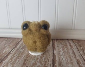 Adorable Needle Felted Wool Toothy Monster- Tan