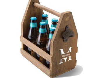 Monogrammed Beer Caddy with Bottle Opener - Personalized Wood Beer Caddy - Gifts for Him - Groomsmen Gifts - Husband Gifts - Wedding- GC1439