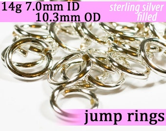 14g 7.0mm ID 10.3mm OD silver filled jump rings -- 14g7.00 jumprings links silverfilled silverfill