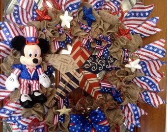 Uncle Sam Patriotic Mickey Burlap Wreath