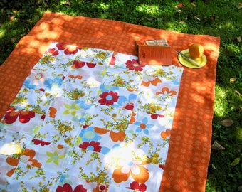 Handmade Recycled Oranges and Reds Cotton Picnic Rug