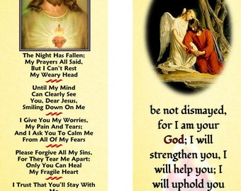 Night Prayer (My Best Friend) Laminated Bookmark- Jesus in Gethsemane with Gold Plated Cross Charm