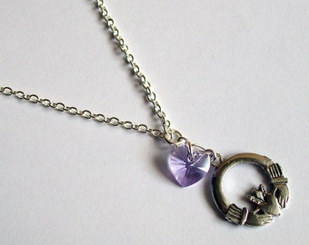 Irish Claddagh Necklace ~ with a Choice of Swarovski Heart Colour ~ Love ~ Loyalty ~ Friendship Gift ~ Claddagh Jewelry ~ Irish Jewelry
