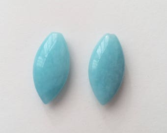 Peruvian Amazonite Top Half drilled Smooth Marquise Drops 10x20x5 mm One PAIR F3049