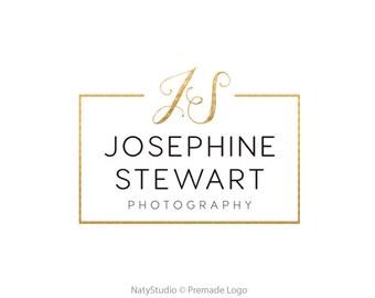 Initial logo photography logo text logo gold logo premade logo design