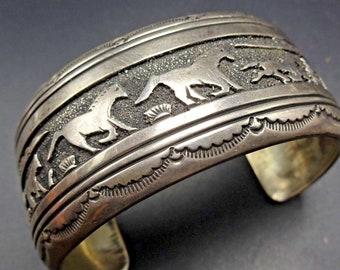 Vintage TOMMY SINGER Hand-Stamped Sterling Silver Running Horses Cuff Bracelet
